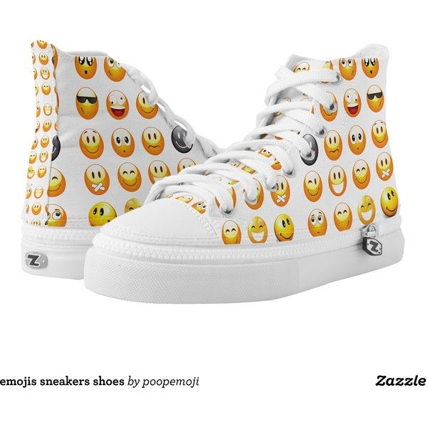 emojis sneakers shoes printed shoes ($106) ❤ liked on Polyvore featuring  shoes, sneakers