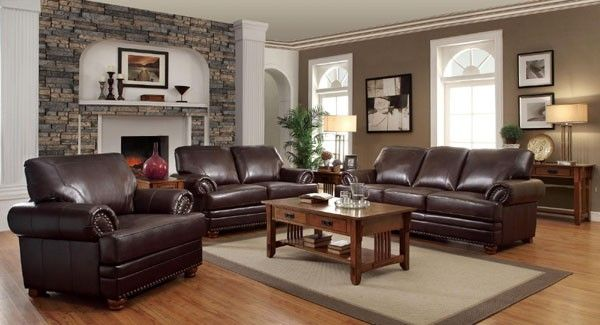 Coaster Furniture - Colton Brown 3 Piece Living Room Set - 504411-12