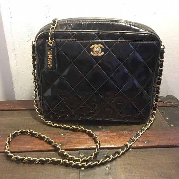 Vintage Chanel Black Patent Camera Bag Bags Vintage Chanel Chanel Black