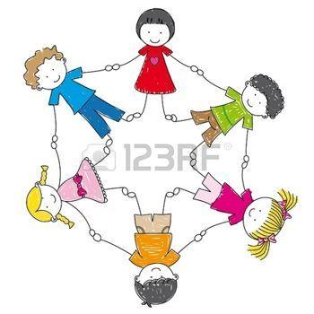 Bambini Stilizzati Bambini Illustrazione Tenendosi Per Mano In Un