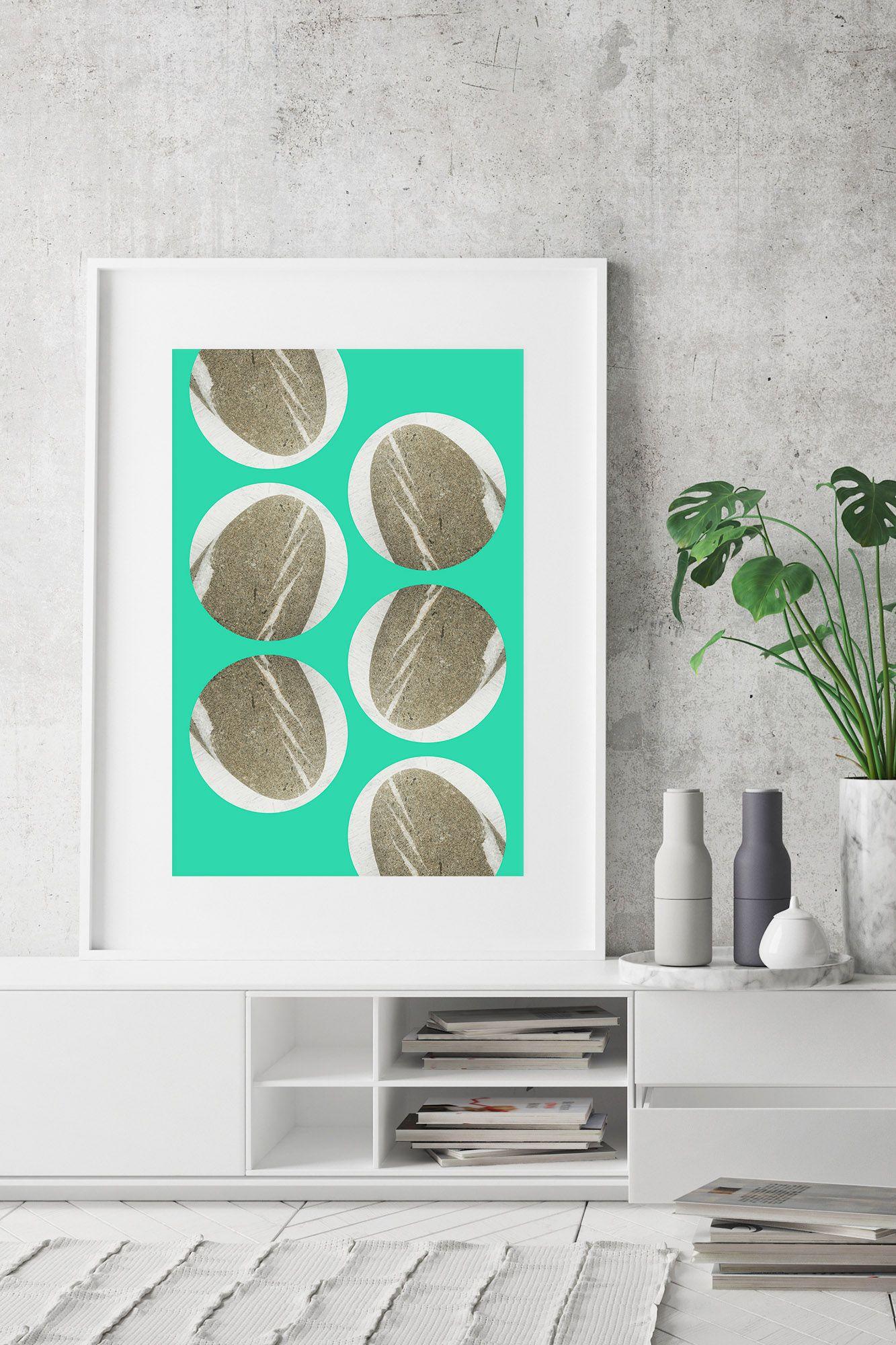 Lettere Da Appendere Al Muro poster verticale astratto, stampa moderna verde e grigia