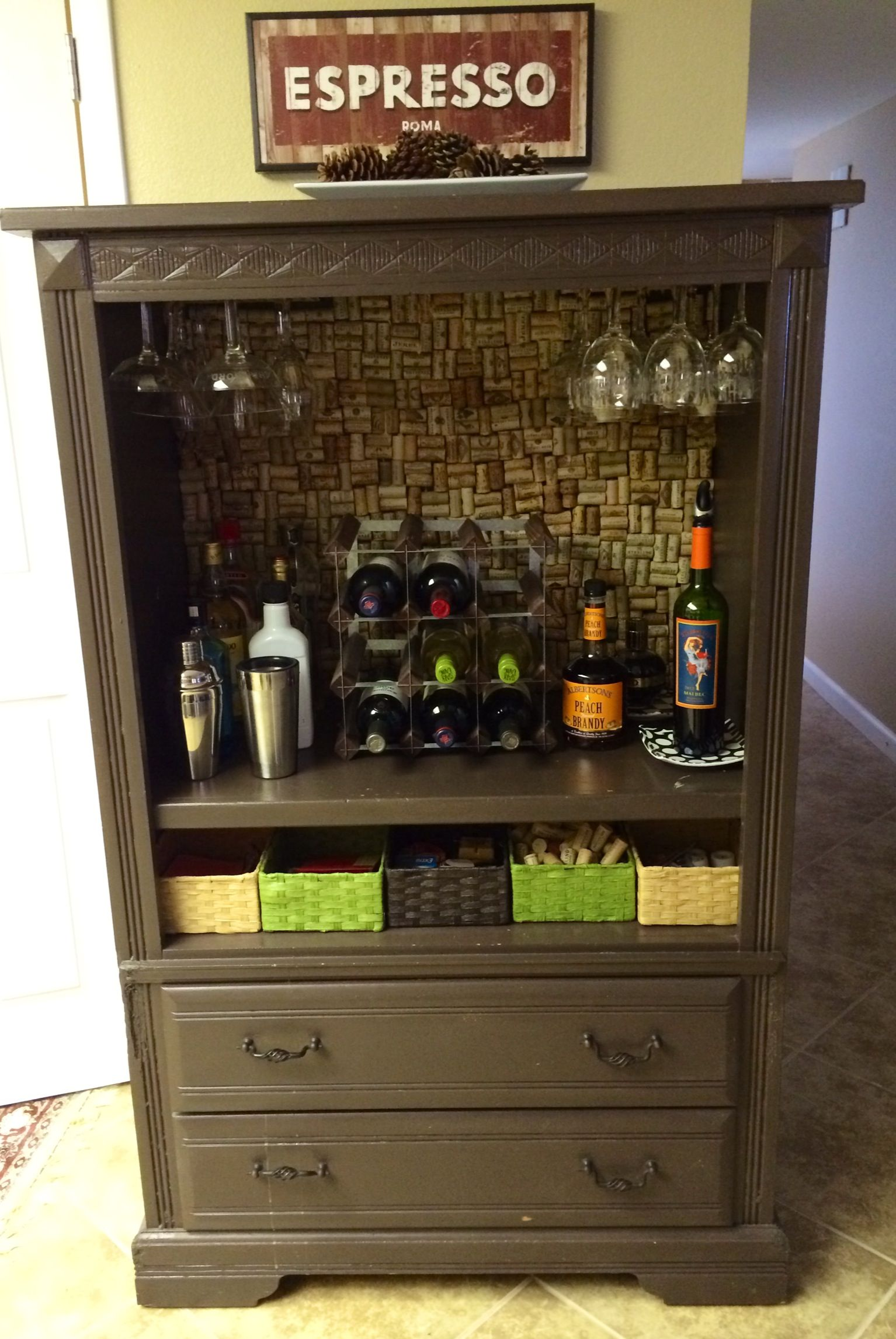 Up Cycled, Repurposed, Refurbished Furniture. I Turned My Old Armiore Into  A Mini Bar/wine Cabinet!