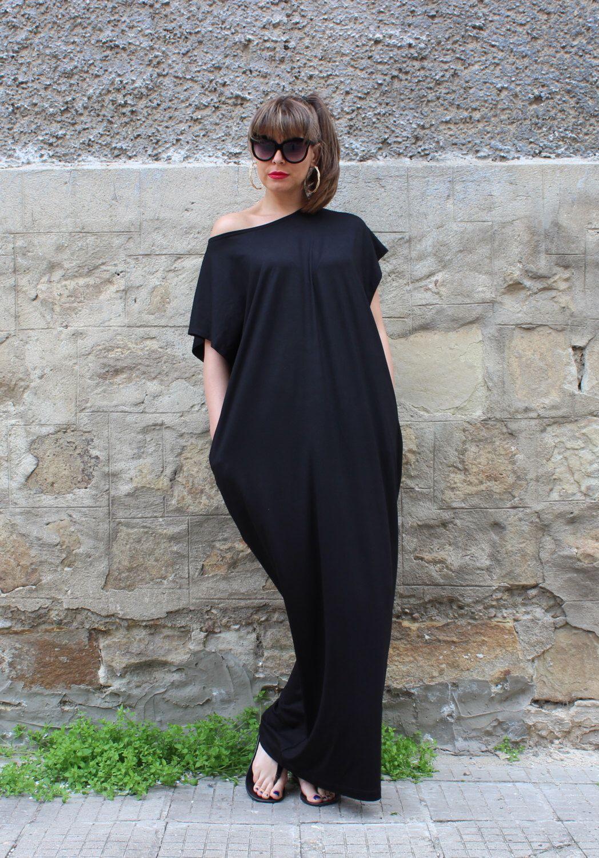 Black Maxi Dress Cotton Knit Caftan Dress Plus Size Dress Beach