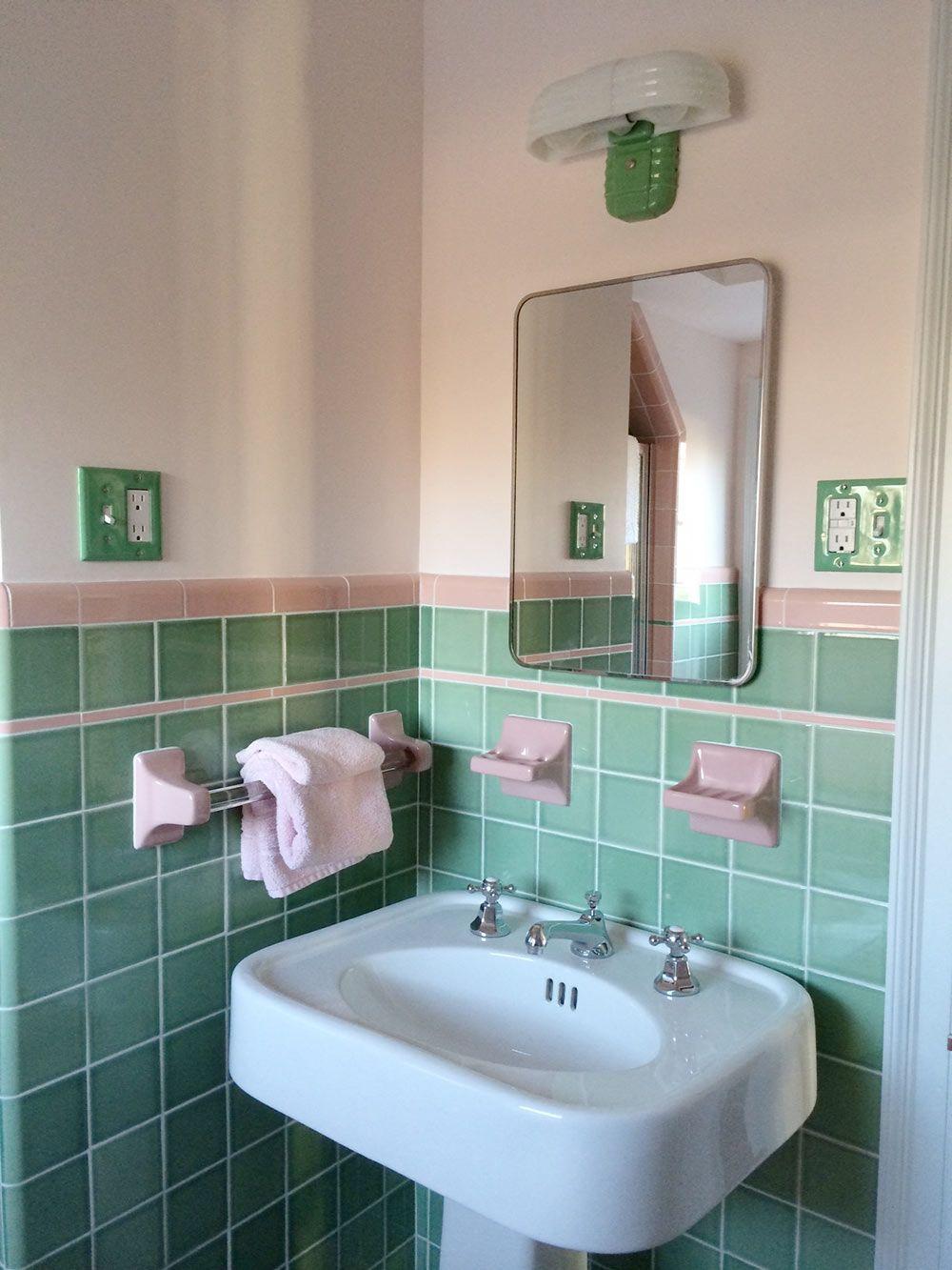 retro bathrooms pink tile bathroom