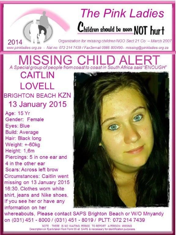 missing people posters 2015 Here is the Pink Ladies official - missing people posters