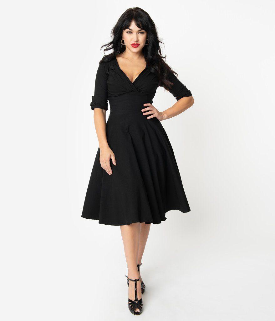Unique Vintage 1950s Black Delores Swing Dress With Sleeves Swing Dress With Sleeves Black Dress With Sleeves Black Swing Dress [ 1023 x 879 Pixel ]