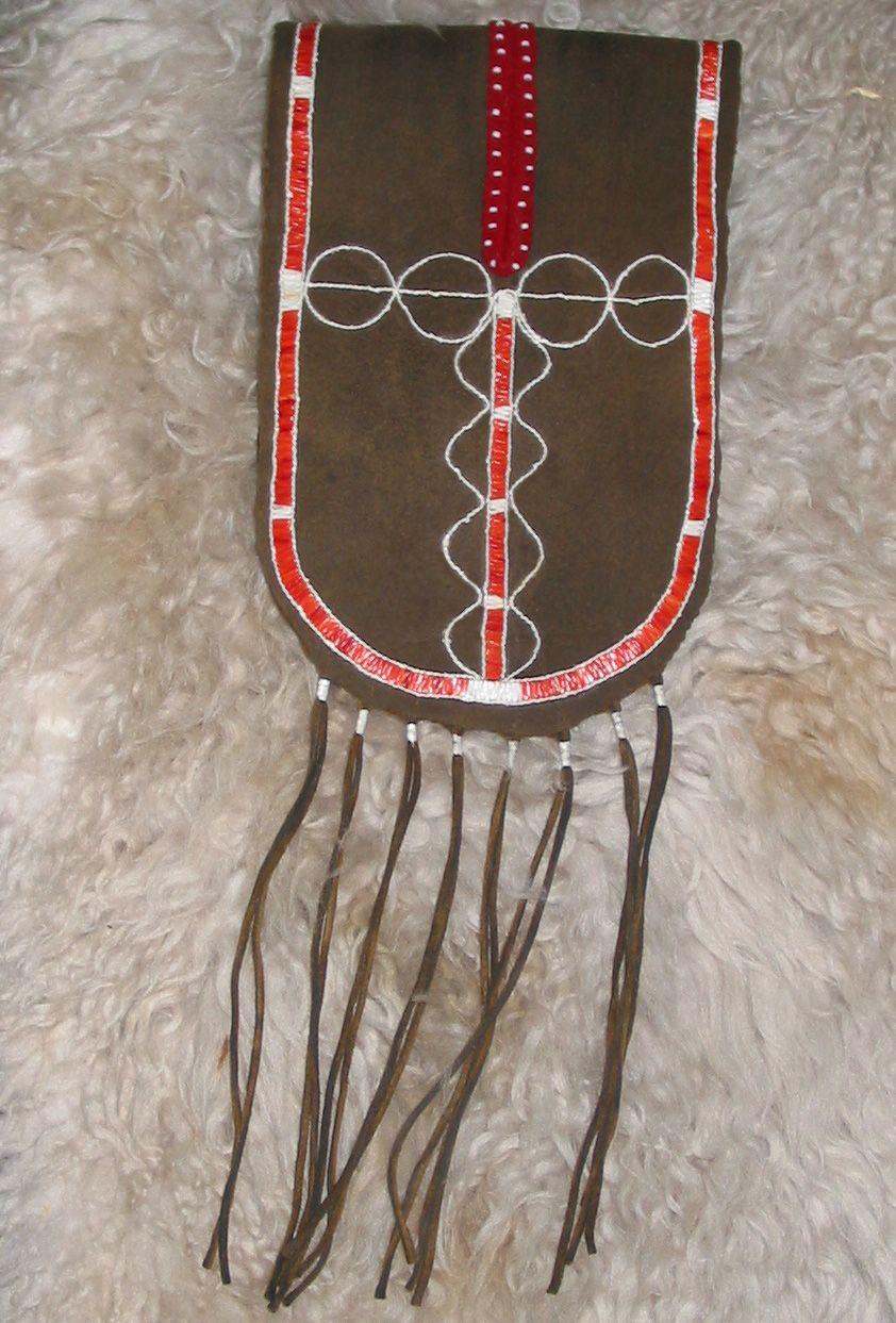 Split pouch - iroquois - Woodland - Quillwork Made by Romana Ziemann