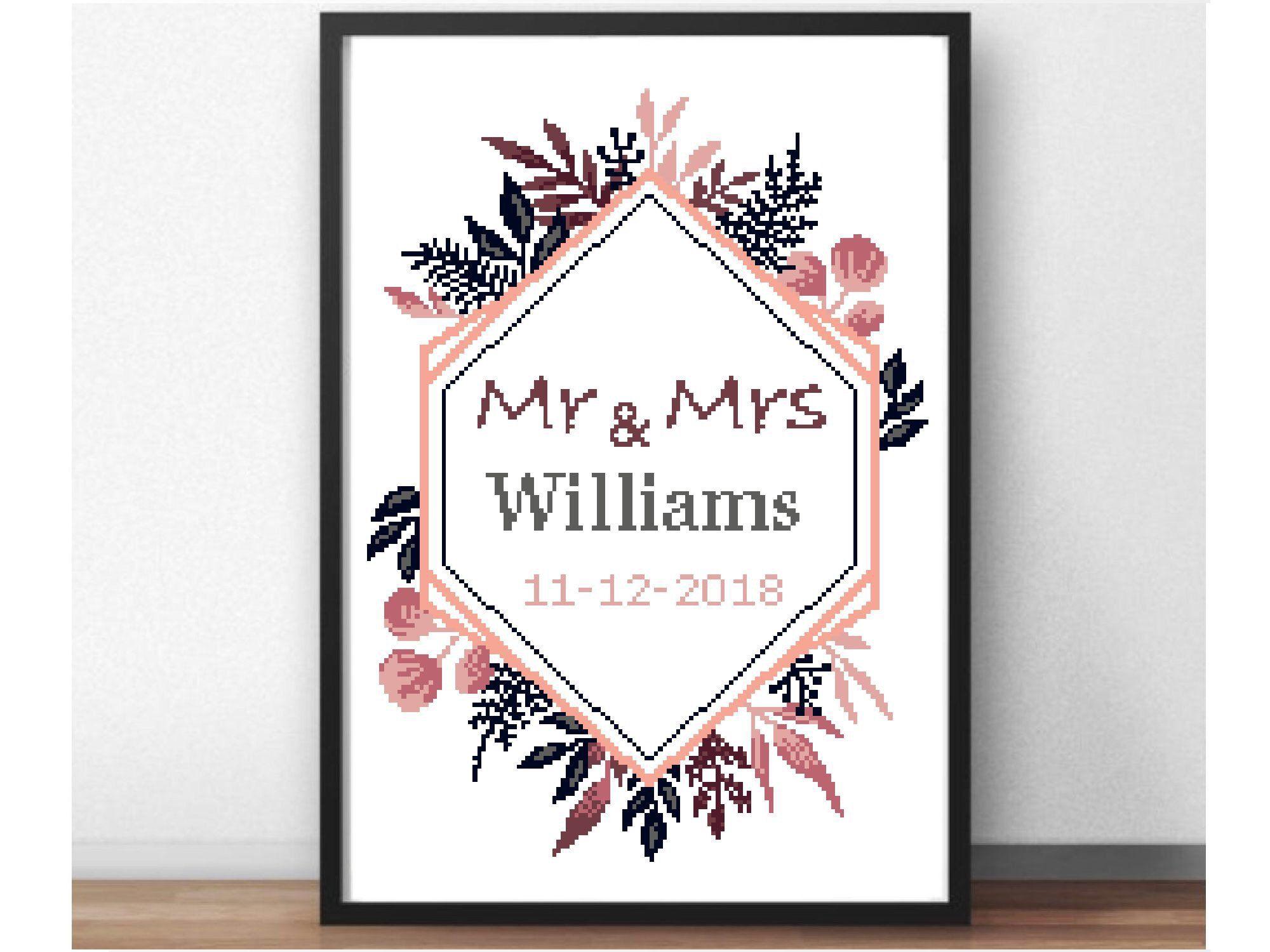 Wedding personalized modern floral cross stitch pattern anniversary