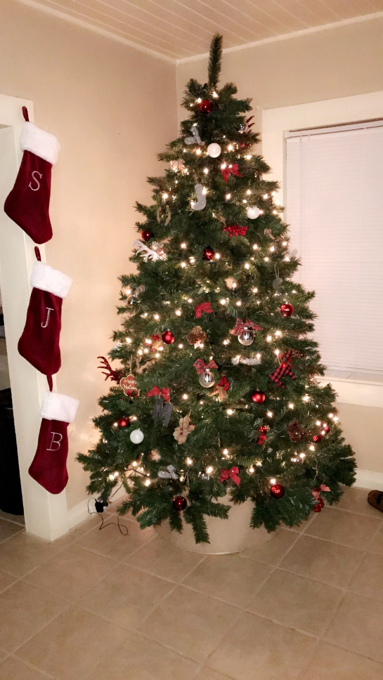 Simple farm style Christmas tree *all ornaments are from