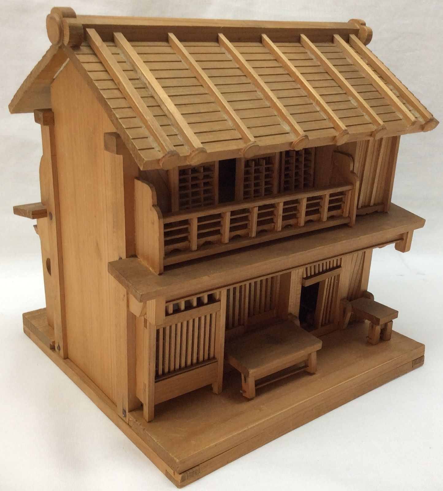 Miniature Wooden Treen Tea House Doll Toy Take Apart