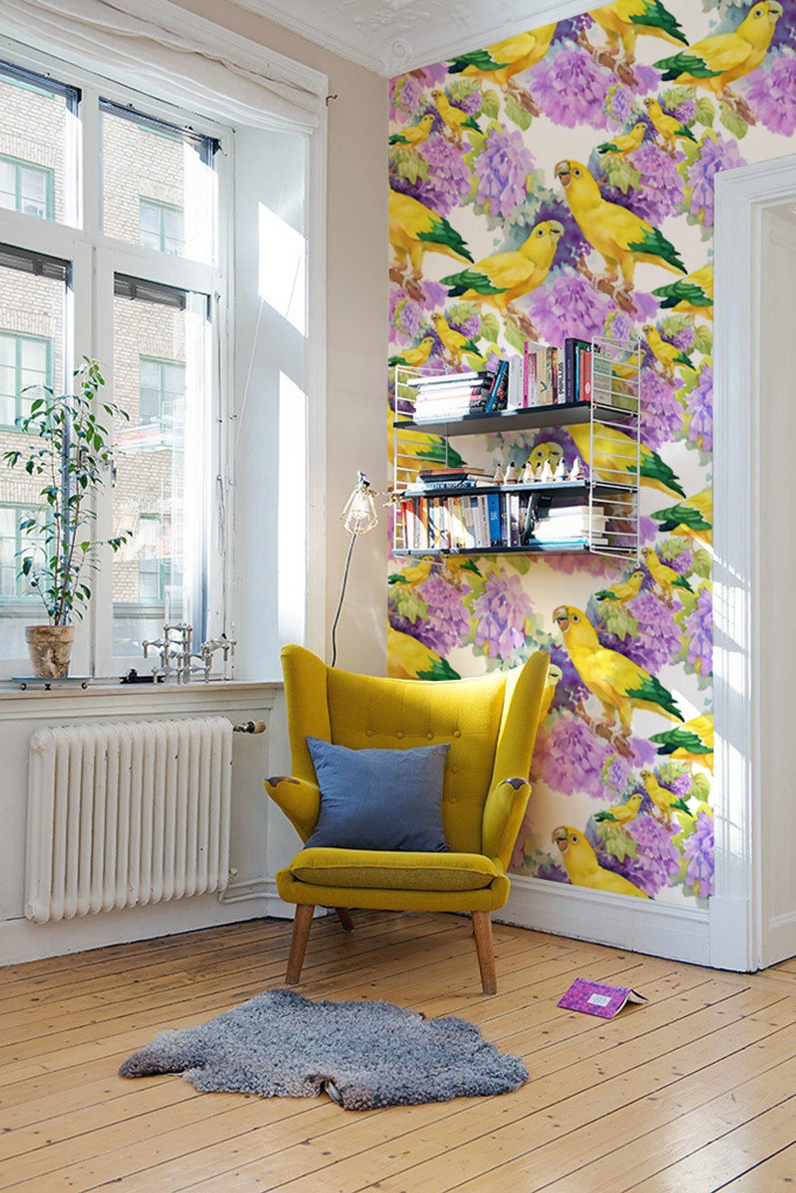 Yellow Parrots Removable Wallpaper Traditional Yellow Etsy Vinyl Wallpaper Decor Removable Wallpaper