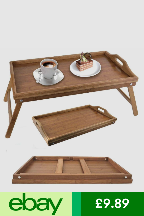 Bamboo Foldable Wood Wooden Breakfast Serving Lap Tray Over Bed Table With Legs Diy Tray Bed Tray Wooden Desk