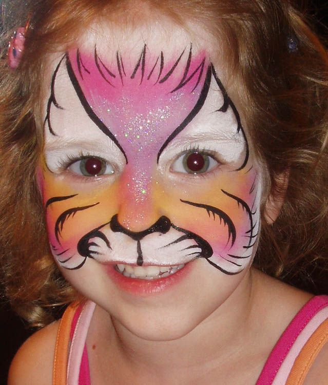 pretty pink cat face painting by kerry ann smith