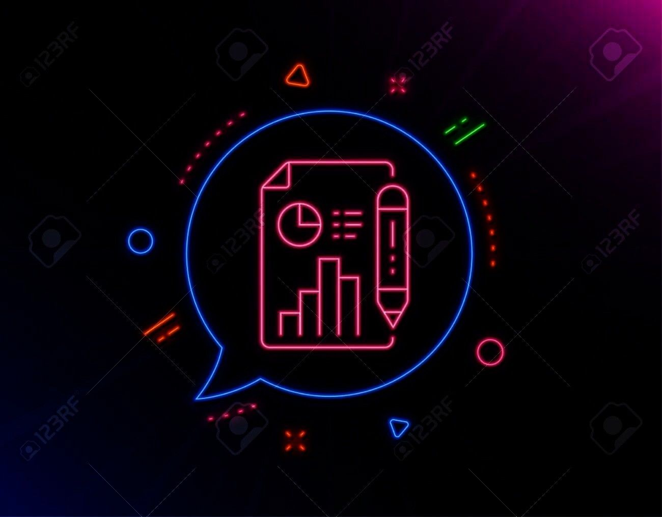 Neon laser lights Column graph sign Growth diagram pie chart symbol Glow laser speech bubble Neon lights chat bubble Banner badge with report document icon Vector Report...