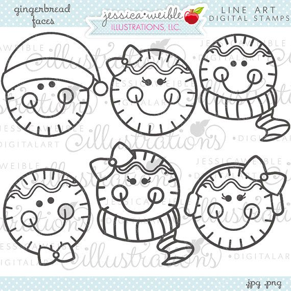 Gingerbread Faces Cute Christmas Digital Stamps for Commercial or ...