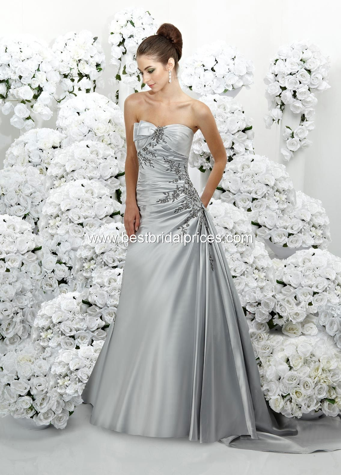 Platinum silver wedding dress diy crafts pinterest for Silver and white wedding dresses