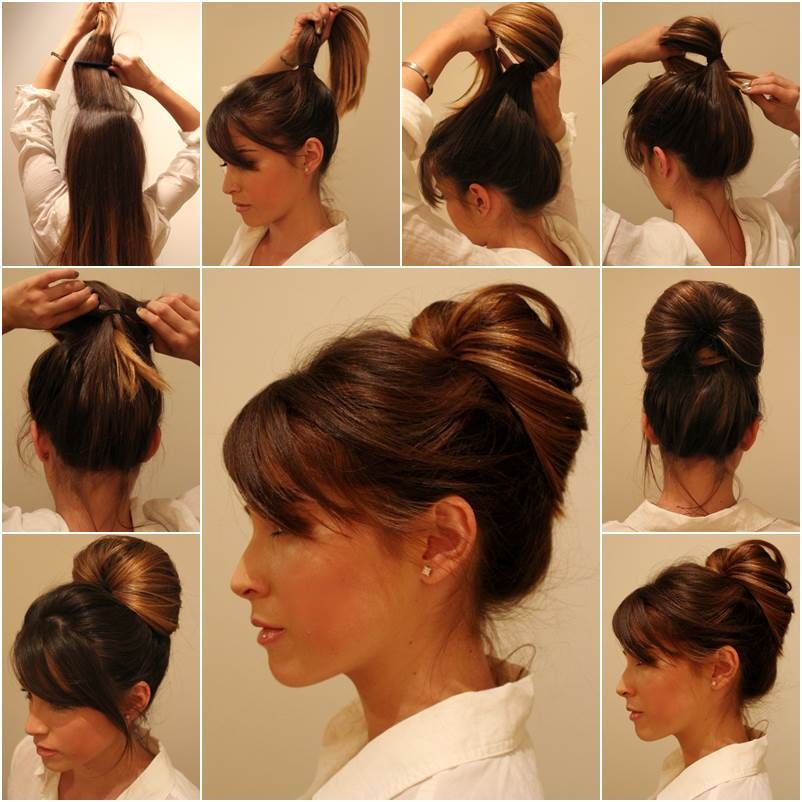 Diy Elegant Inside Out Ponytail Bun Hairstyle Damp Hair Styles Easy Hair Updos Diy Hairstyles