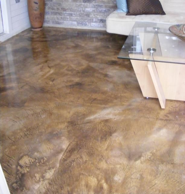 Concrete stained floor i would do this for a garage for Removing stains from concrete garage floor