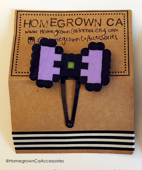 Pixel Bow Barrette By Homegrowncalifornia On Etsy
