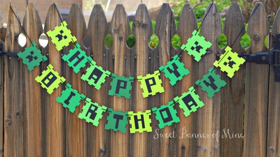 Minecraft Happy Birthday Banner by sweetbannerofmine on Etsy