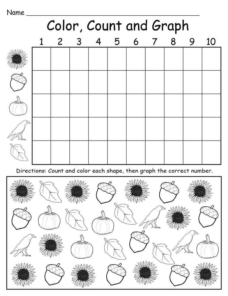 Graphing Worksheets Kindergarten Printable Fall Themed Color Count And Graph Worksheet Graphing Worksheets Graphing Kindergarten Kindergarten Worksheets