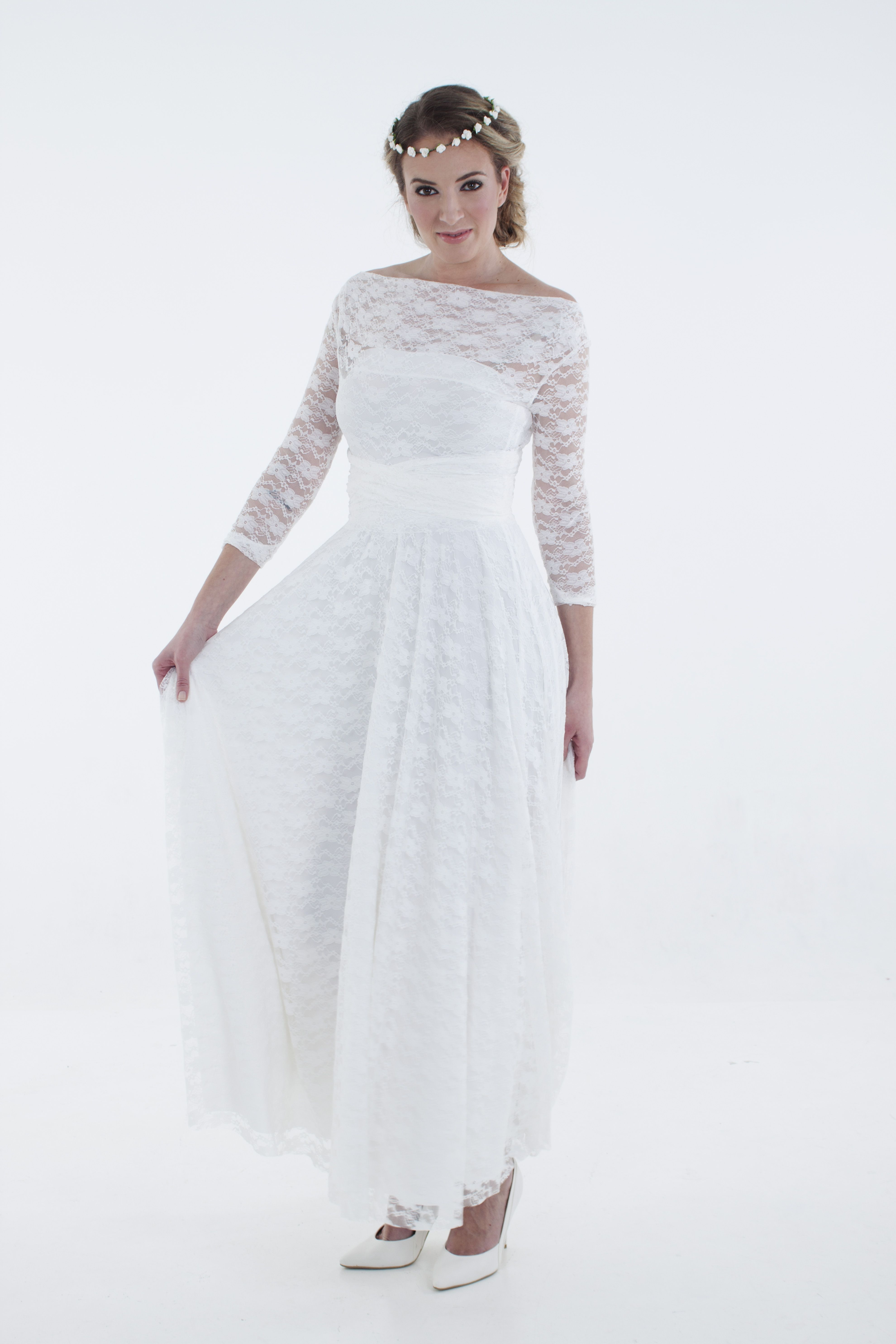 a8b389881f6 Ivory white, Winter wrap dress with full lace overlay , www.infinity-dress .co.za