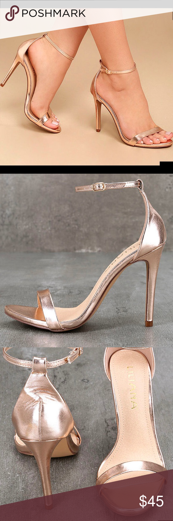 c681e0e6141 Rose Gold Strappy Heels Brand new in box. Unused. Rose Hold Strappy Heels.  Size 6. Description of Heels in picture. ❌🚫Trades Lulu s Shoes Heels