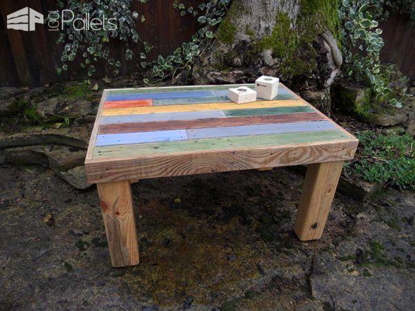 Mesa hecha con pallets