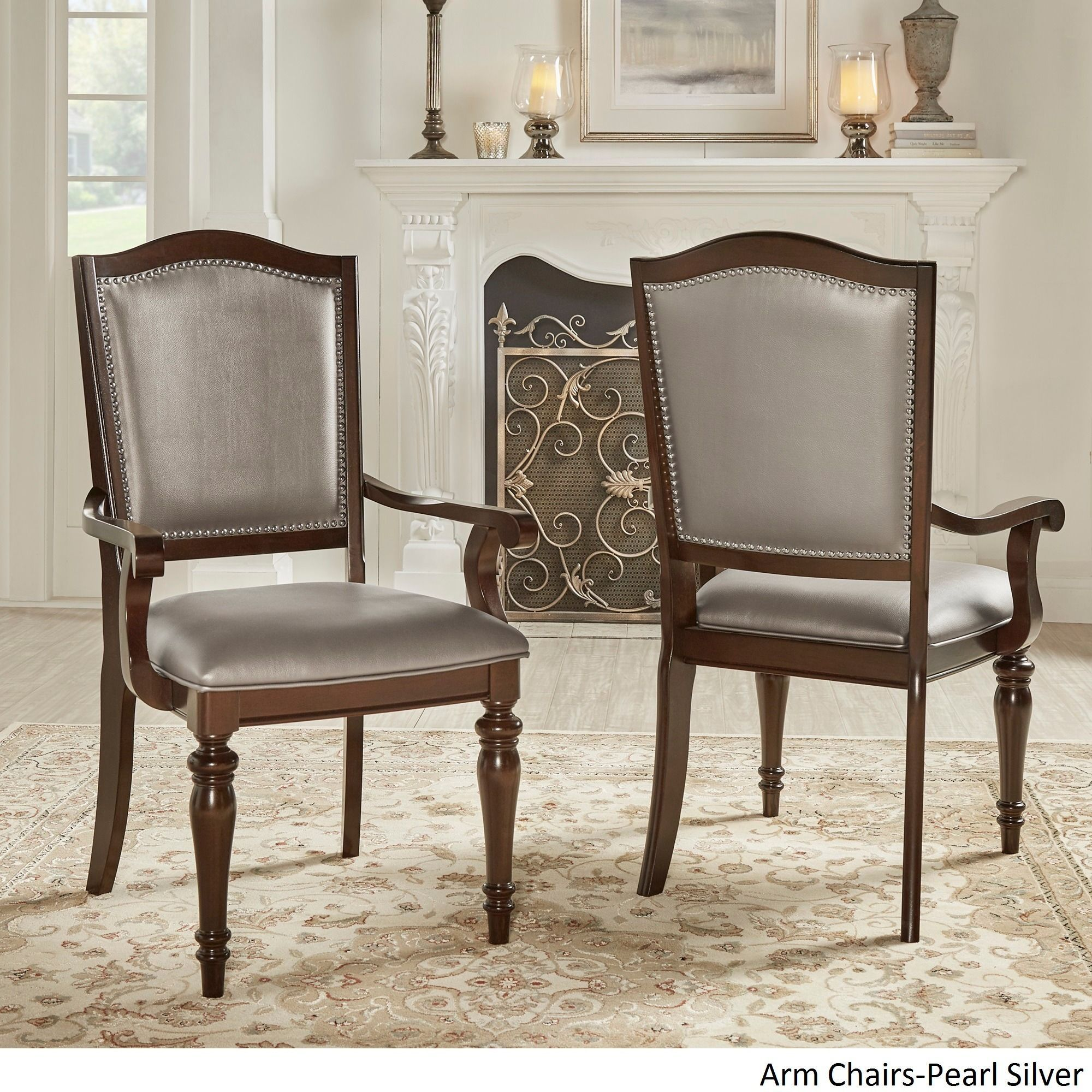 Best Lasalle Espresso Nail Head Accent Transitional Dining Side 400 x 300