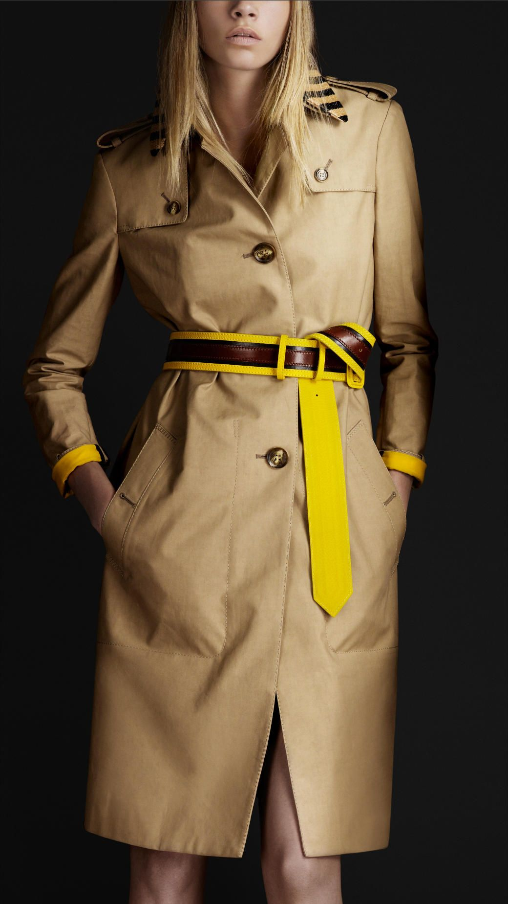 Burberry Prorsum raffia collar trench coat