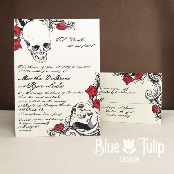 Deadly gorgeous wedding invitations with a punk rock edge from