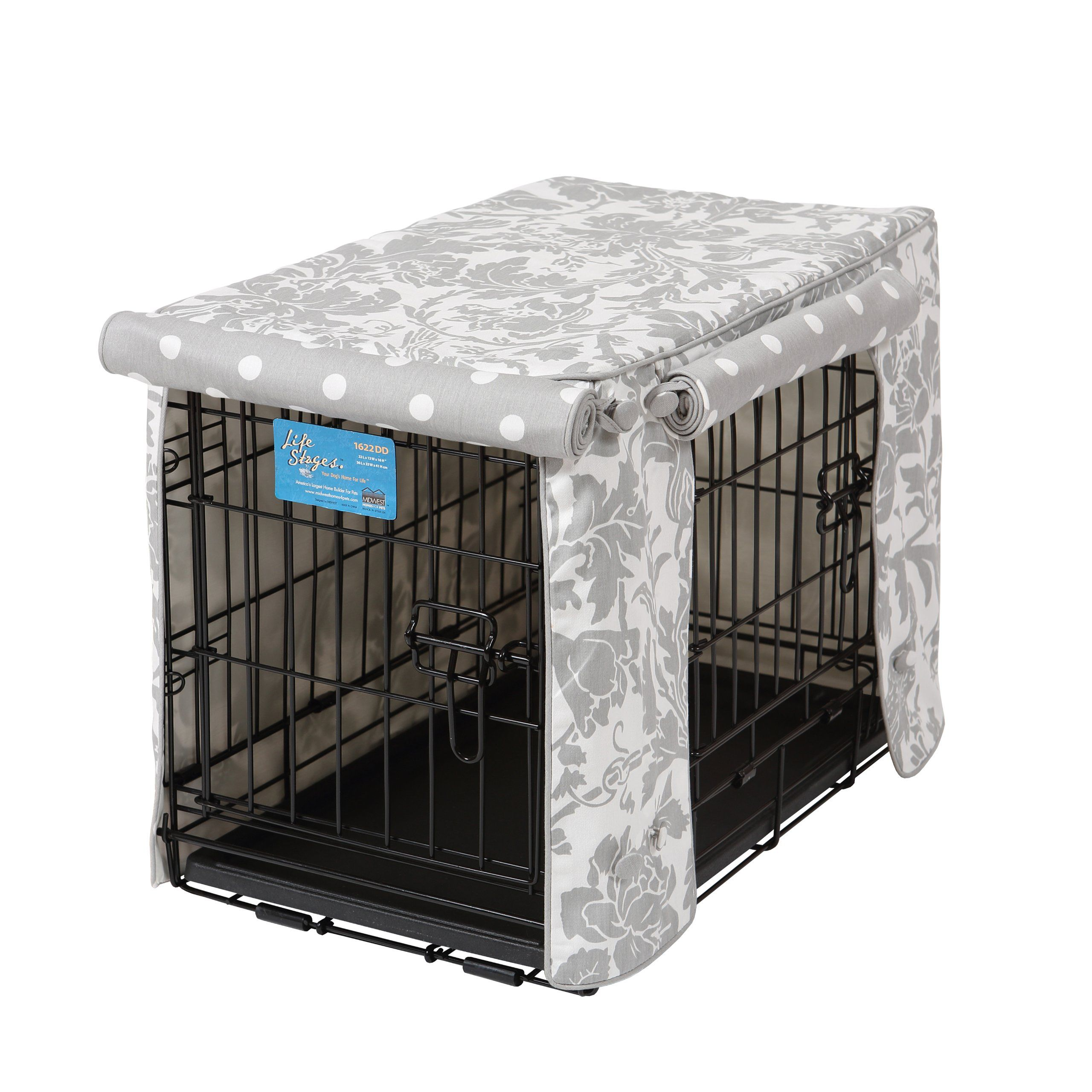 Amazon Com Crate Covers And More Double Door 24 Pet Crate Cover Marbella Storm With Grey Polka Dot Pet Habitat Screen Covers Crate Cover Pet Crate Crates