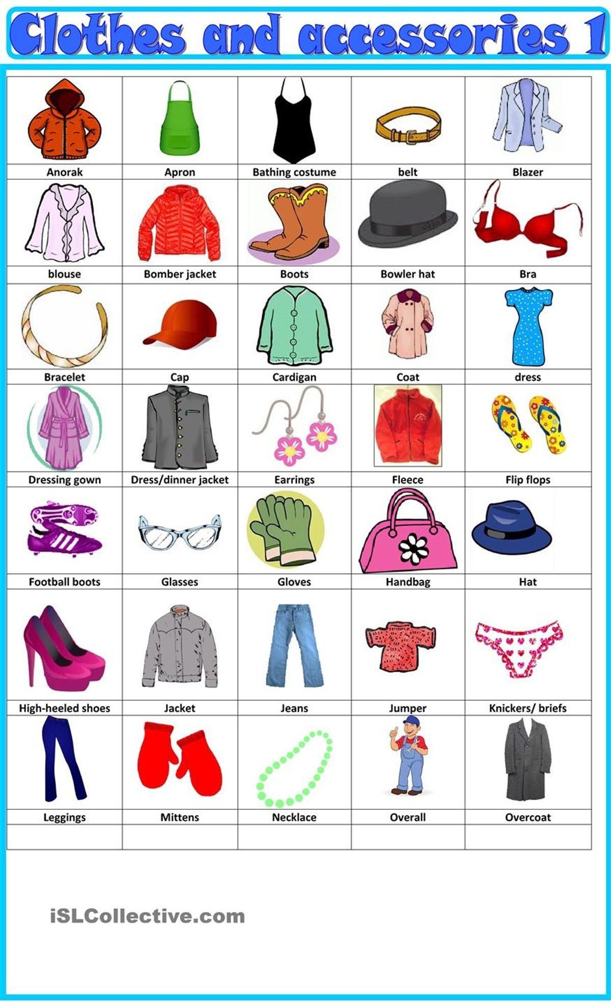 Clothes Accessories Vocabulary Vocabulary Clothes English Clothes