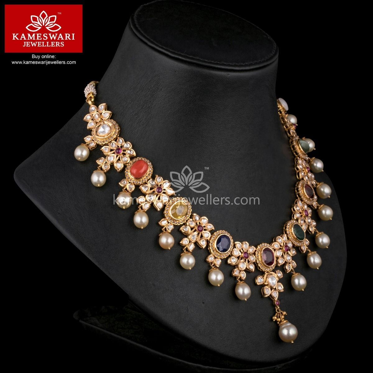 Maharani navratna polki haar necklace online jewel and indian jewelry