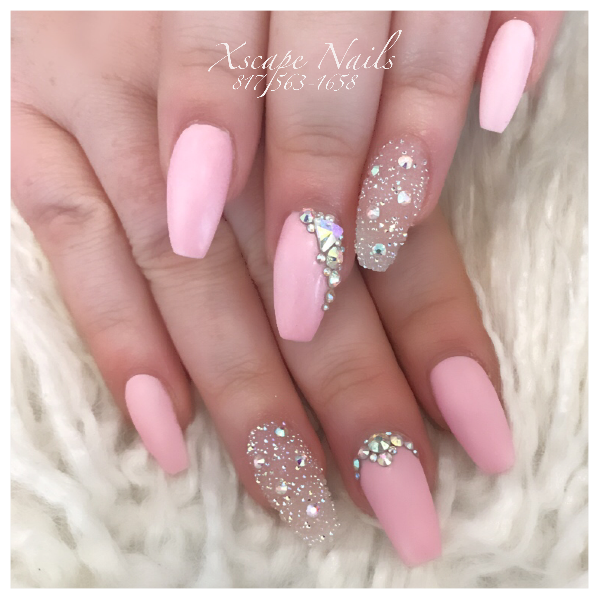Matte crystal pixie pink nails | Cute Nails Designs | Pinterest ...