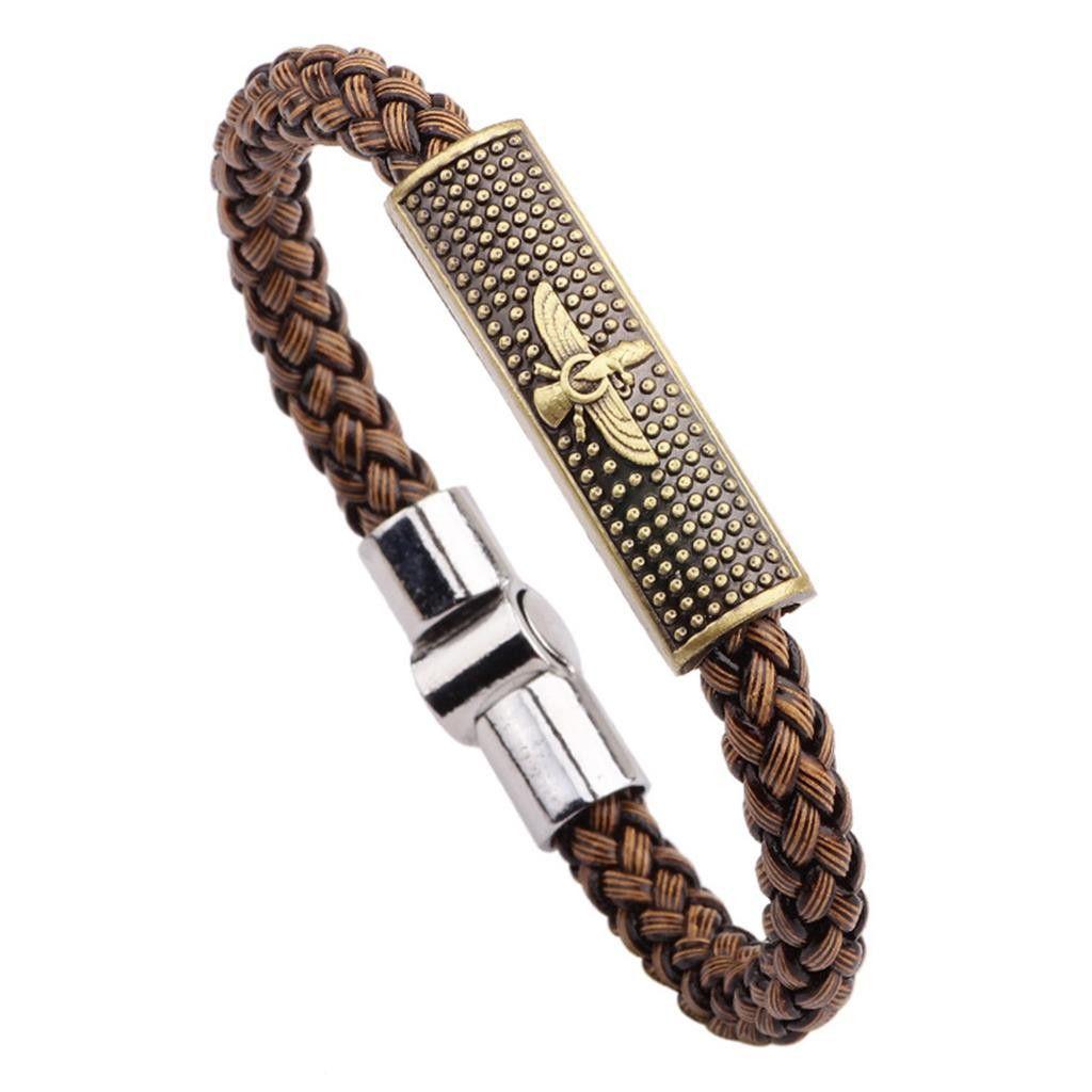 Brown eagle genuine leather bracelets for men magnetic punk rock