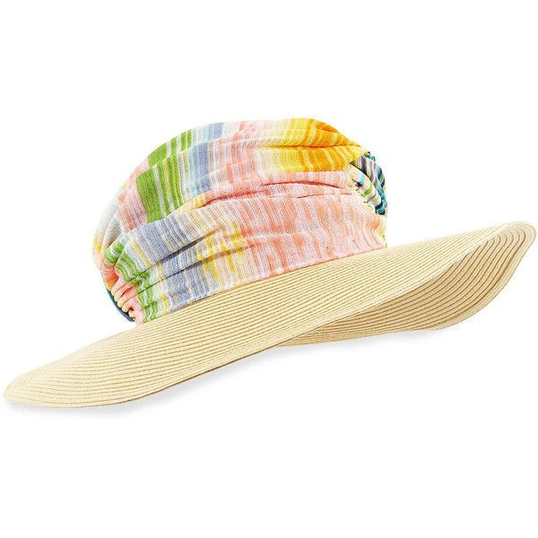 Missoni Striped Wide-Brim Hat ($180) ❤ liked on Polyvore featuring accessories, hats, blue multi, straw hat, missoni hat, crown hat, striped hat and wide brim straw hat