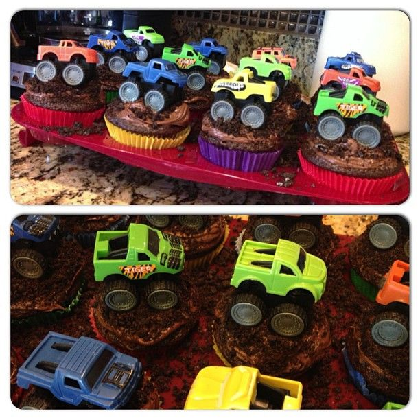 monster truck cupcakes Photo by jaxavery Lukes 4th bday