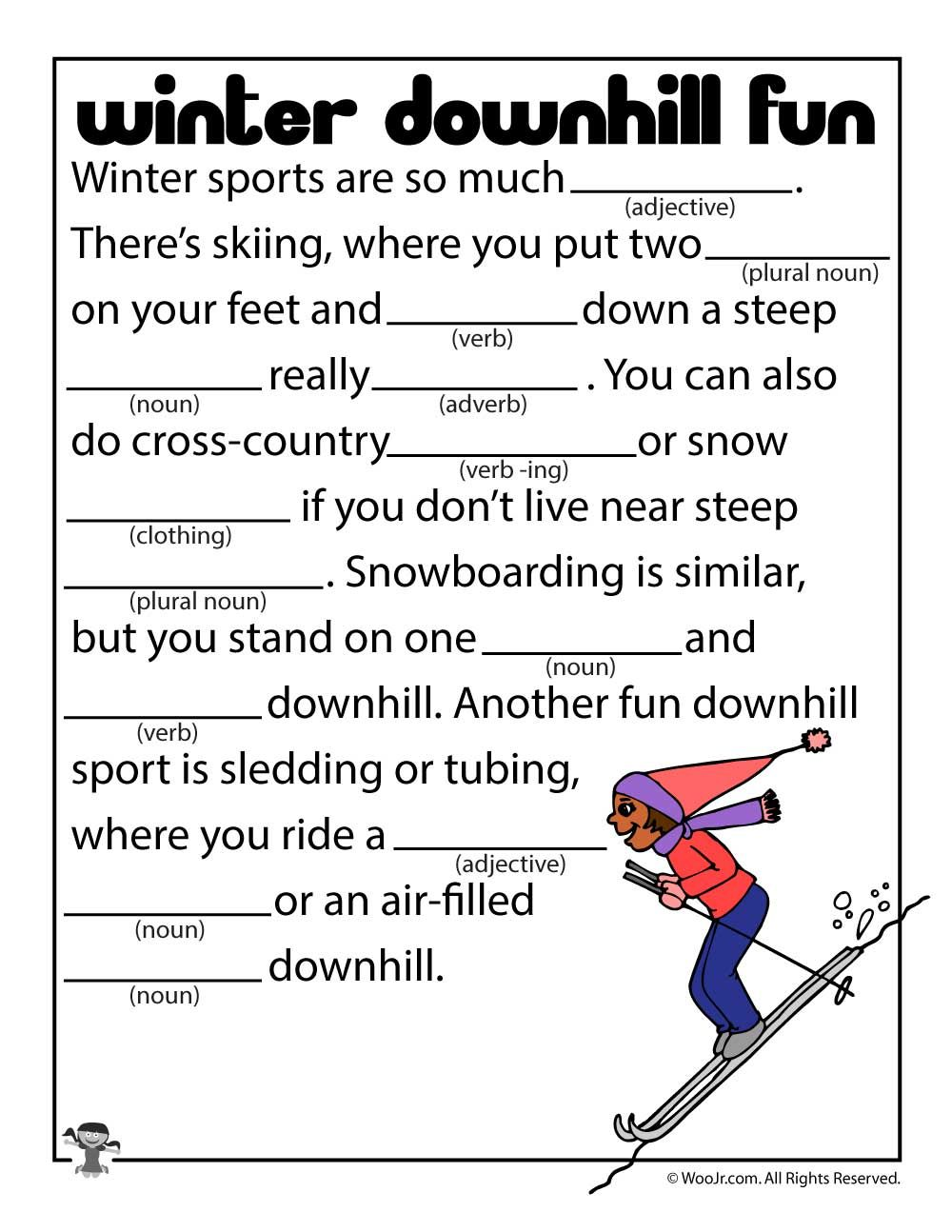 Winter Sports Mad Lib Kids Sports Activities For Kids