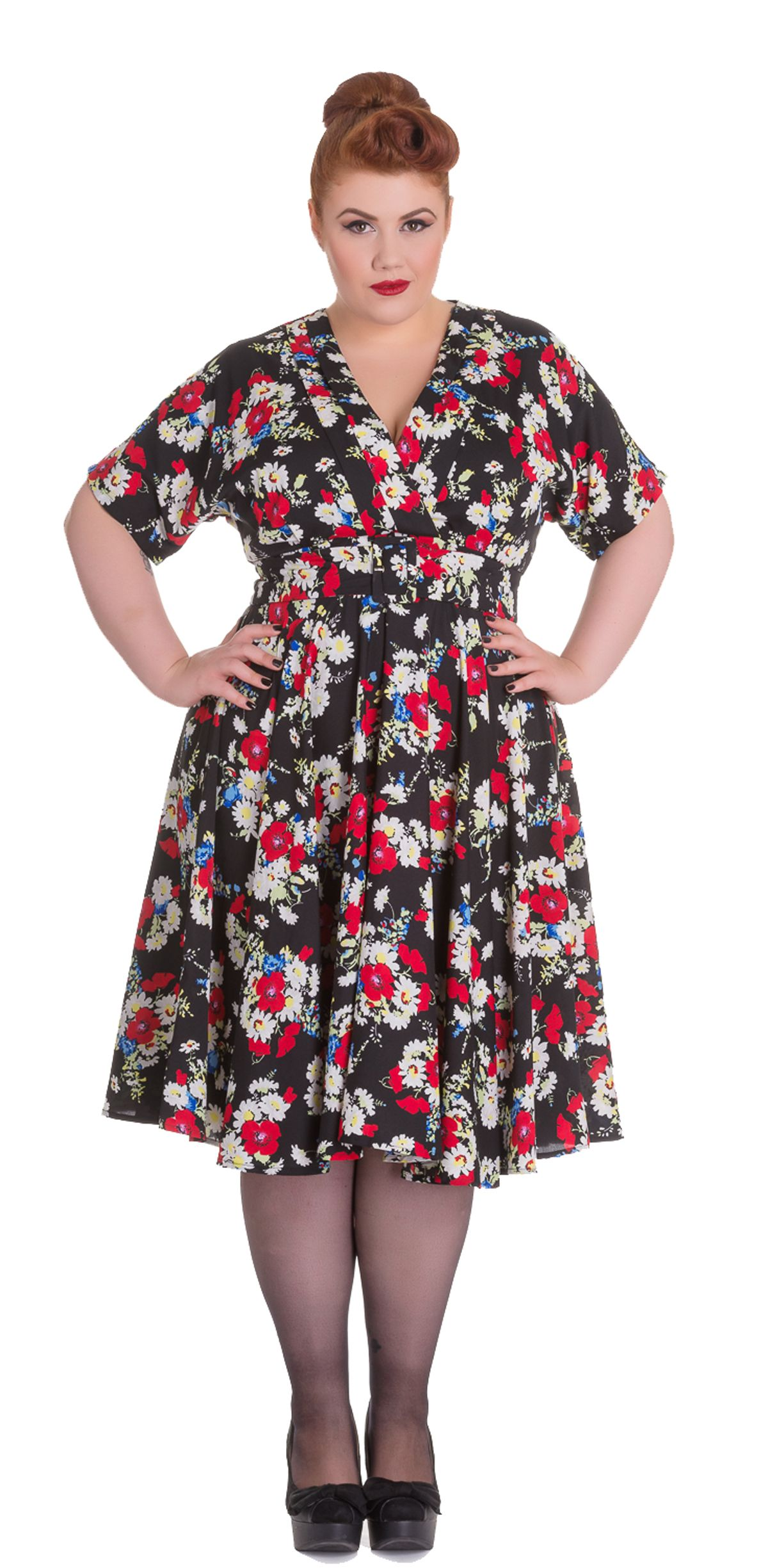 Cute Vintage FLORAL Blüten Pin Up Dress KLEID Rockabilly