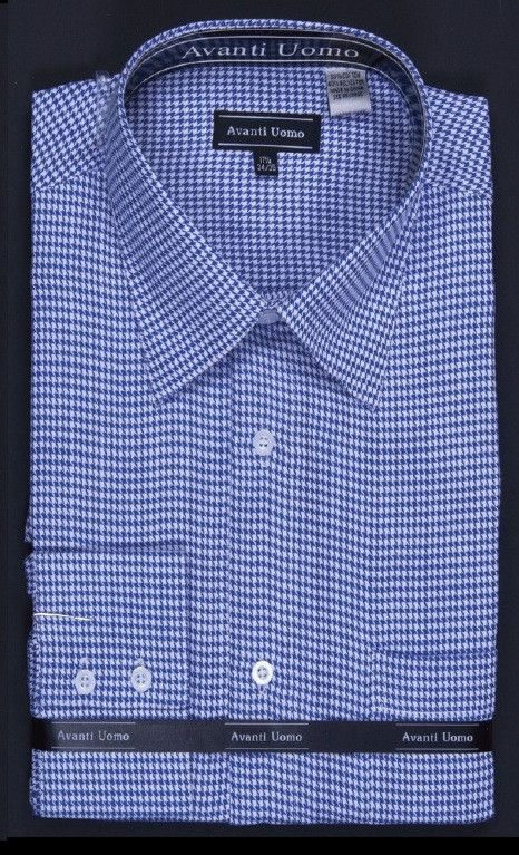 Men's Blue Houndstooth French Cuff Dress Shirts