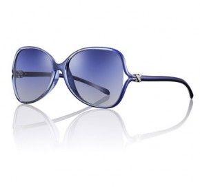 Occhiali da sole in acetato azzurro con strass sull'astina Tiffany...Belli!