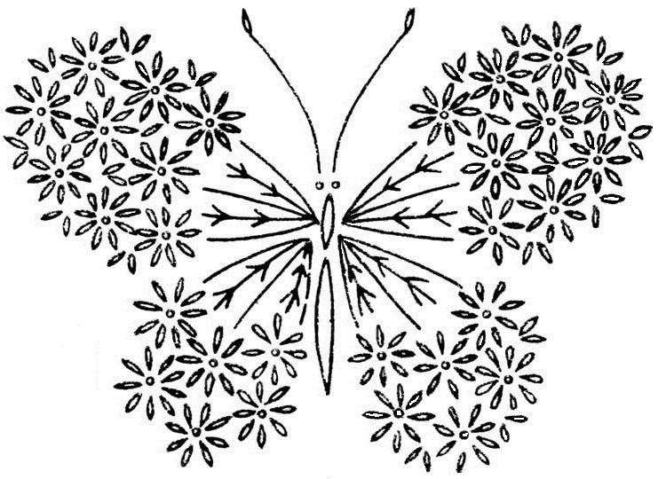 Butterfly from satin stitch,french knot stitch,lazy dasy stitch and ...