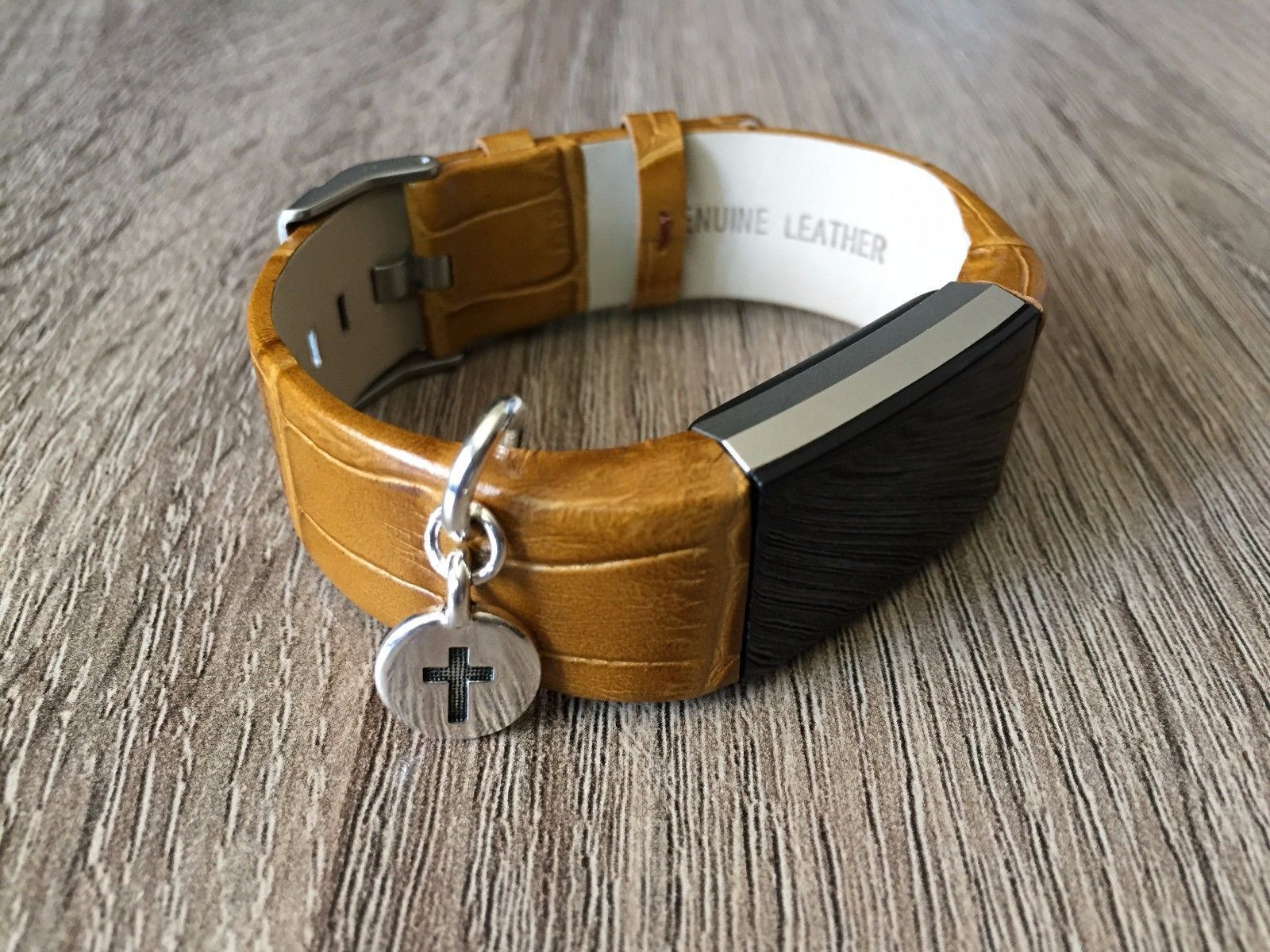 Handmade brown leather band small christian cross charm for fitbit