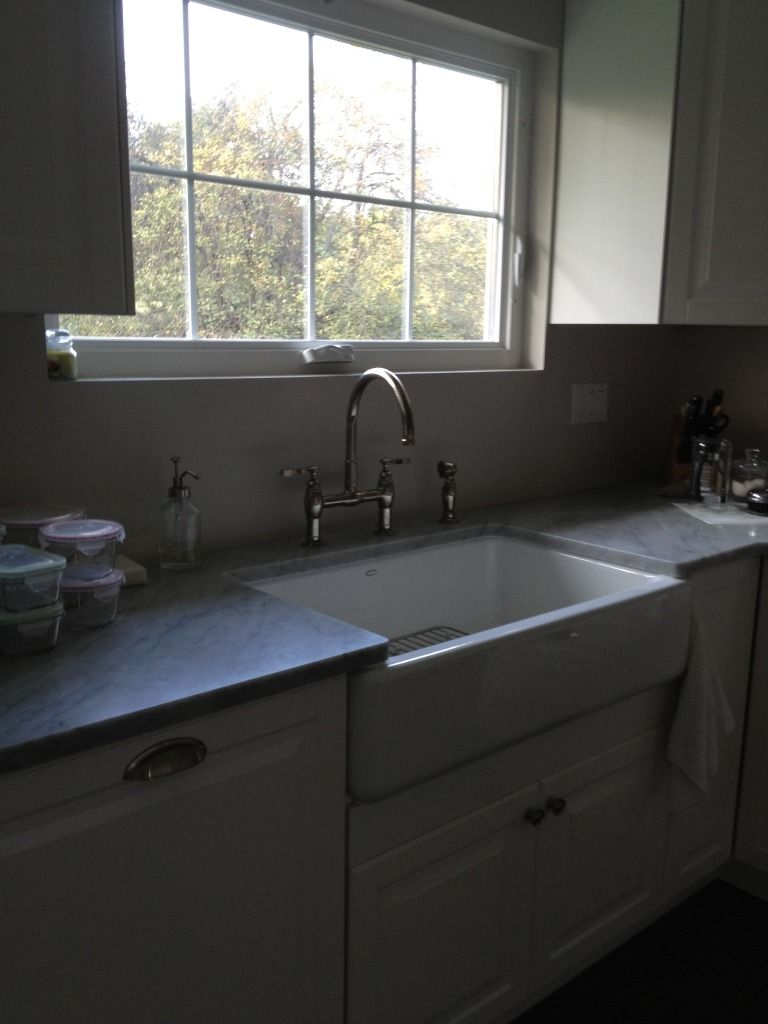 Picture of Kohler Whitehaven cast iron apron sink installed