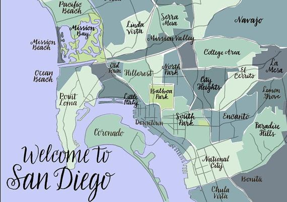 printable san diego neighborhood map San Diego California Neighborhood Map Blues And By Rebellettering