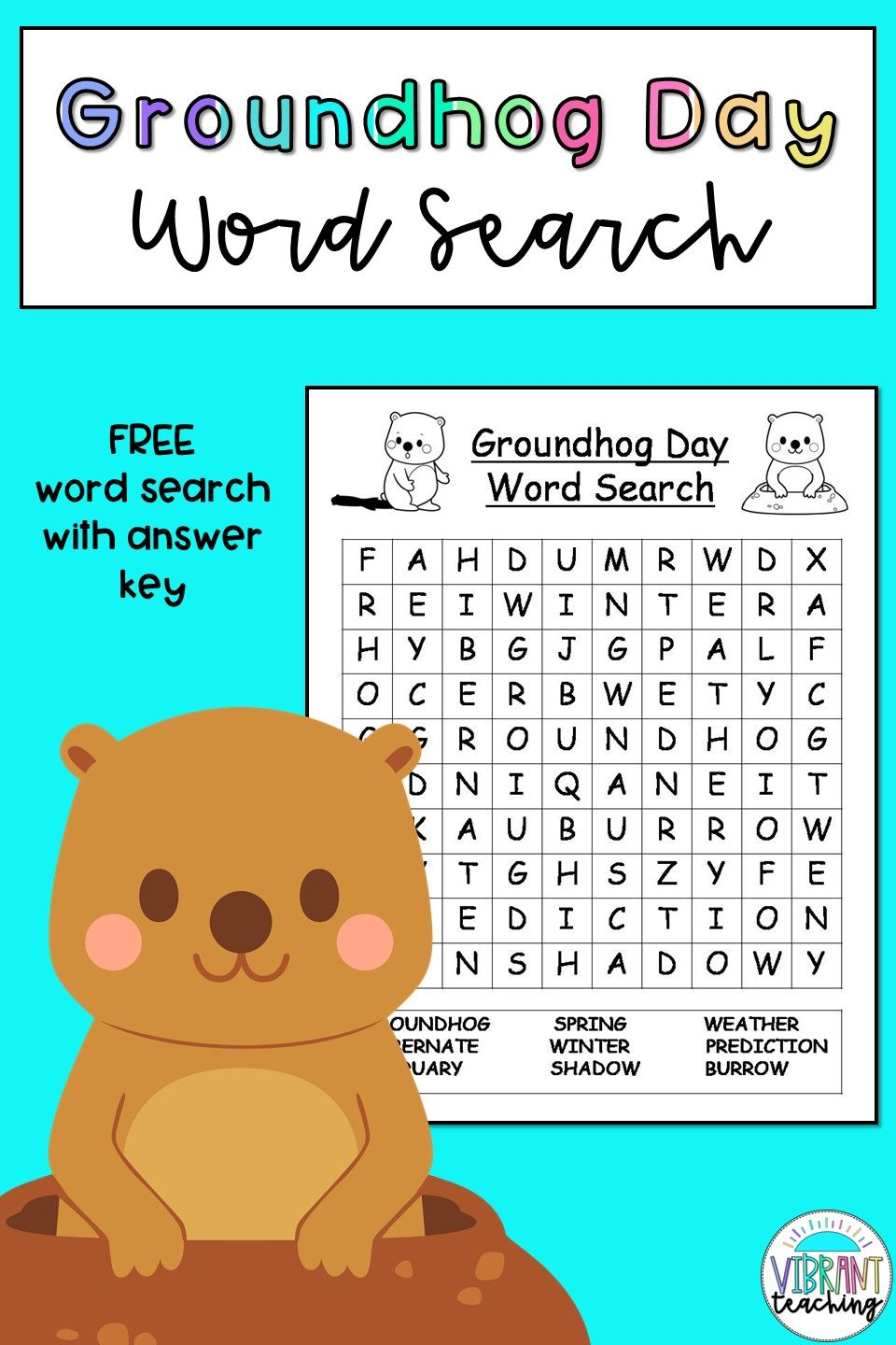 small resolution of Groundhog Day Word Search in 2021   Groundhog day activities