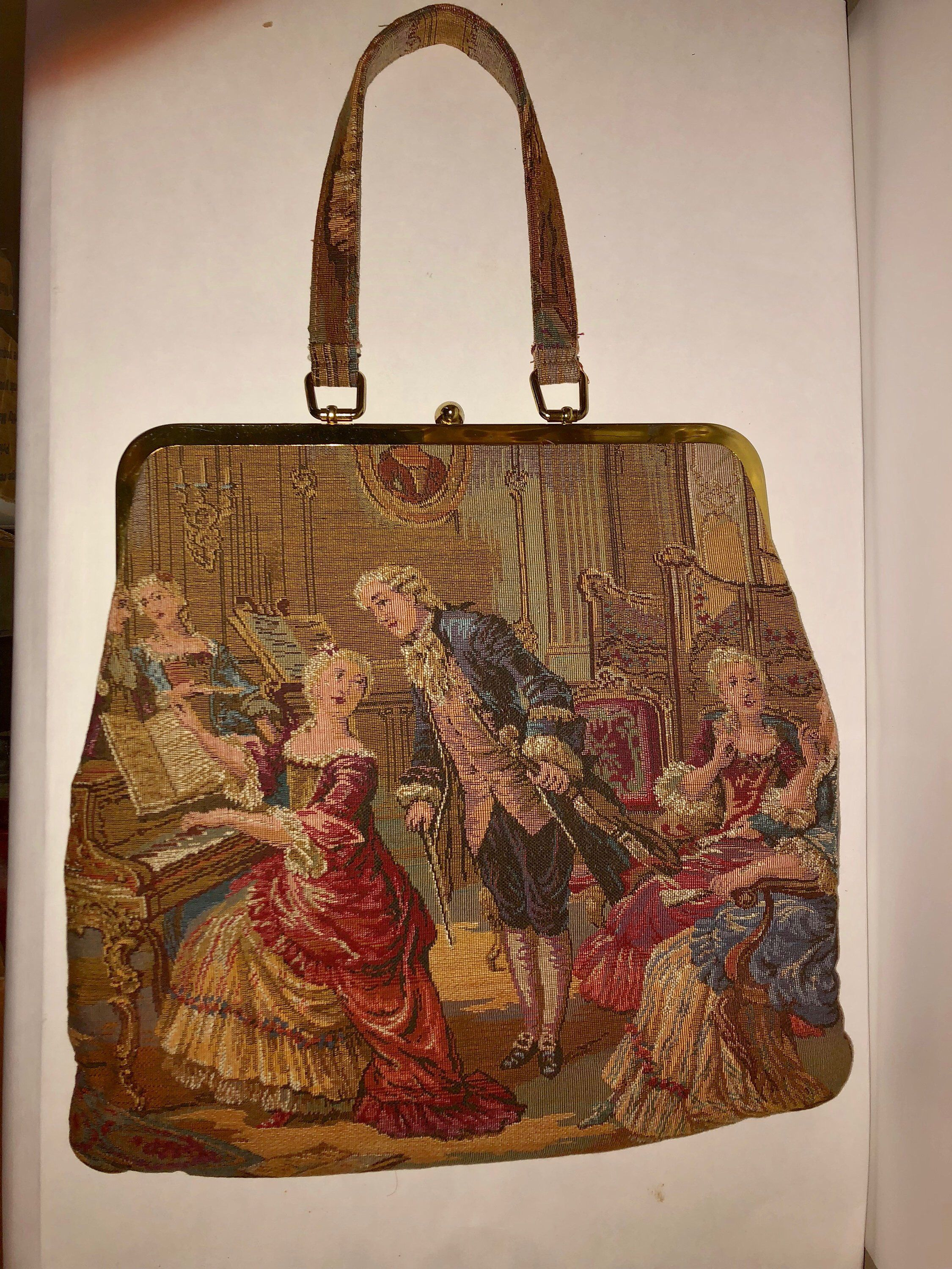 Excited To Share This Item From My Etsy Vintage Jr Florida Tapestry Victorian Handbag Bagsandpurses Gold Purse