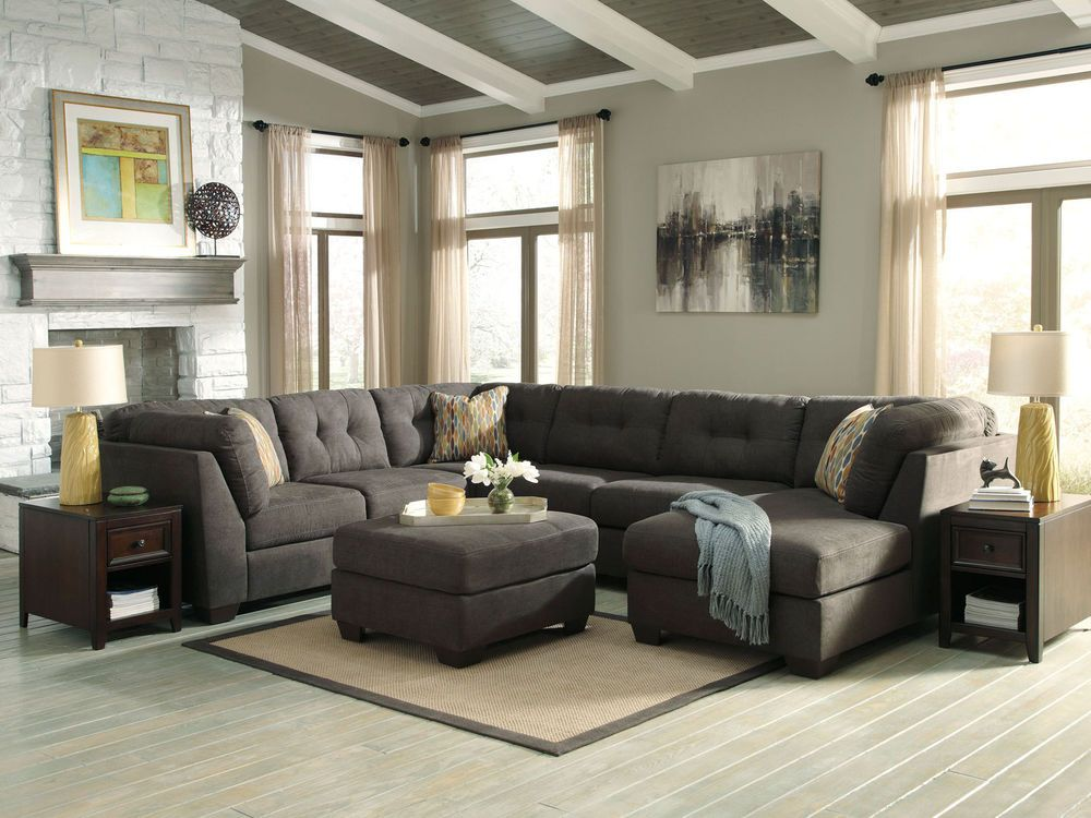 Alba Large Modern Gray Microfiber Living Room Sofa Couch Chaise Sectional Set New Minimalist Living Room Living Room Furniture Sofas Living Room Decor Cozy