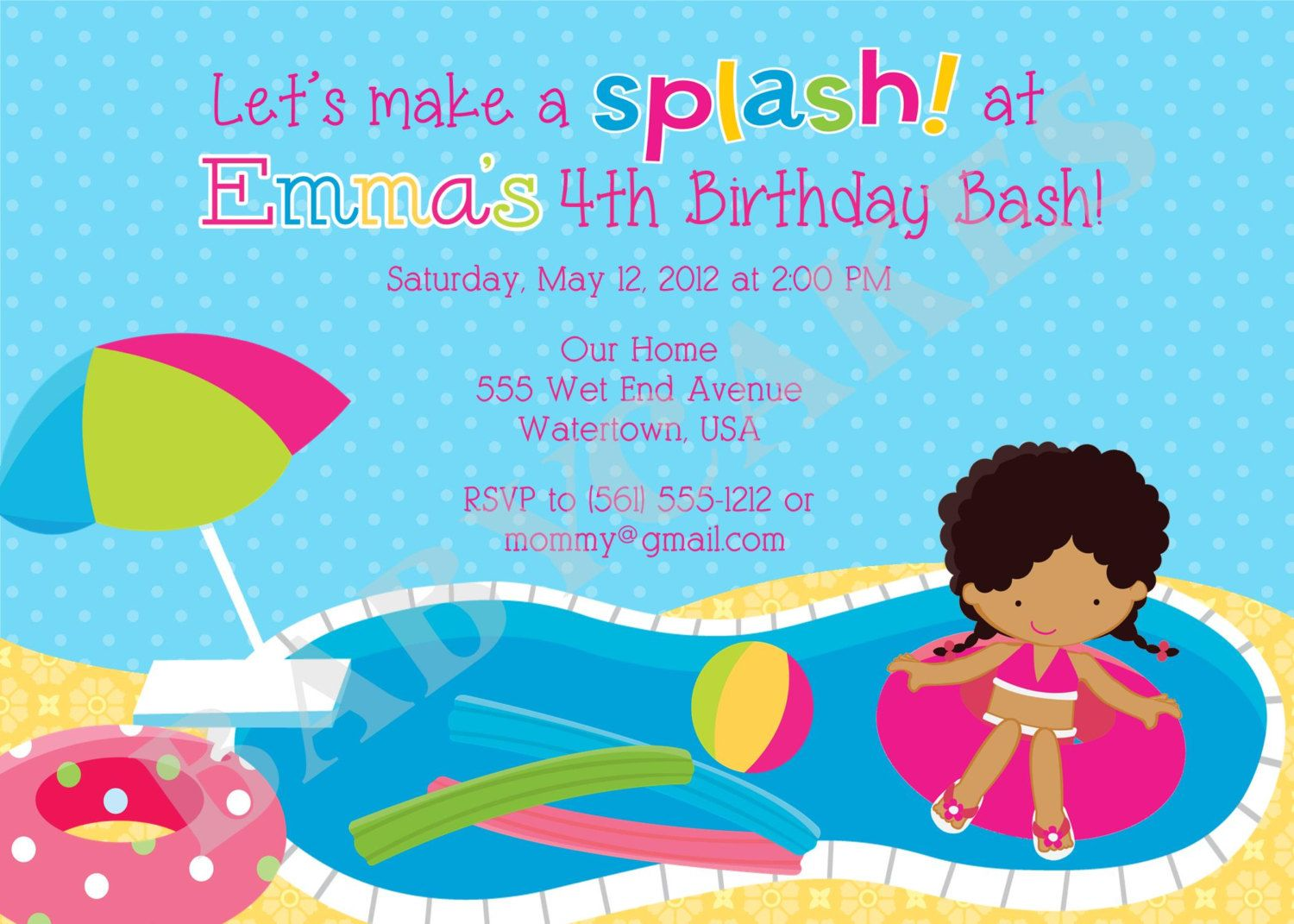 POOL PARTY invitation invite pool party birthday Swimming Party girl ...